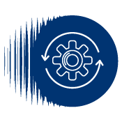 Illustrated icon of a gearwheel spinning